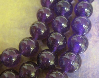 "30% OFF SALE Candy Amethyst Jade 14mm Round, 8"" long , 14 pcs"