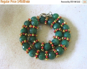 20% OFF ON SALE Green Agate Hand Knotted Necklace, Gemstone Jewelry, Christmas Necklace