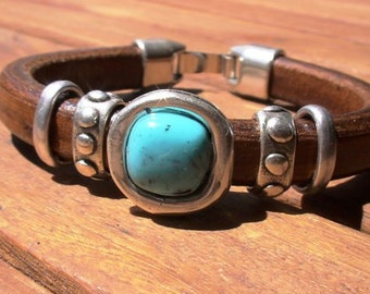 turquoise bracelet, womens bracelets, turquoise jewelry, beaded bracelets, leather bracelet, beads Bracelets, fashion jewelry,  boho jewelry