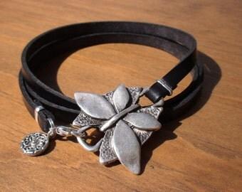 butterfly bracelet, butterfly jewelry, womens bracelets, silver bracelet, leather bracelet, wrap Bracelets, fashion jewelry, charm Bracelets