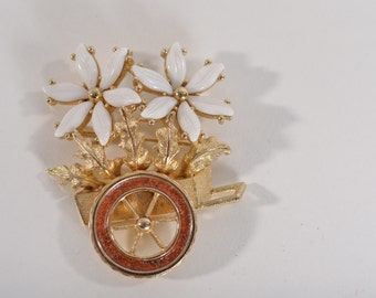 Vintage 1960s Tortolani Brooch - Flower Cart Pin - Novelty Fashions