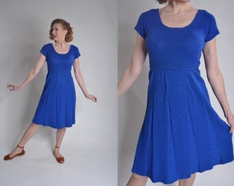 Vintage 1950s Blue Knit Dress - Handmade Lurex Boucle - Winter Fashions