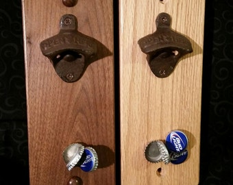 "Magnetic Wall Bottle Opener --  Solid Hardwood -- 10"" tall -- Personalization Available -- Screw Mount Model"