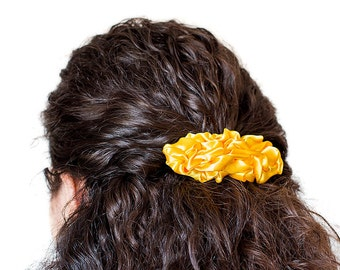 Bright yellow fabric french barrette hair clip