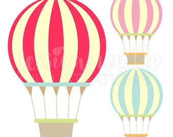 Carnival Hot Air Balloons Cute Digital Clipart - Commercial Use OK - Hot Air Balloon Graphics, Carnival Clip art