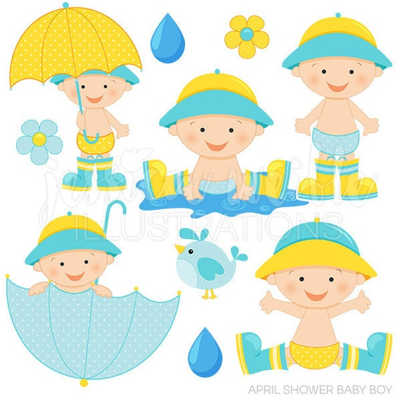 April Shower Baby Boy Cute Digital Clipart, Baby Boy with Umbrella ...