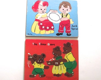 Nursery Rhyme Puzzles, Two Vintage Children's Wooden Tray Puzzles