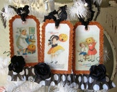 Halloween tags vintage style paper art ornament glittered victorian tag postcards cute children and pumpkins mixed media altered halloween