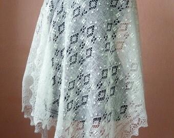 Hand knitted natural white Haapsalu shawl, traditional Estonian lace shawl, pattern Snowberry  original design- CUSTOM MADE