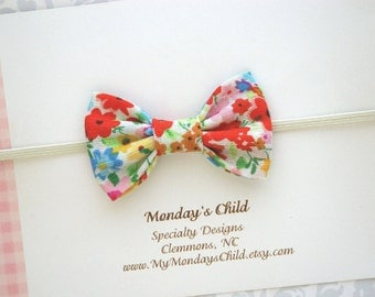 Floral Baby Bow, Baby Bow Headband, Baby Headband, Baby Bows, Toddler Headband, Toddler Bow, Newborn Headband, Tiny Bow Headband