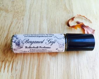 Bergamot Goji Perfume Oil, vegan, fresh, citrus, tropical, fragrance, scent, roll on