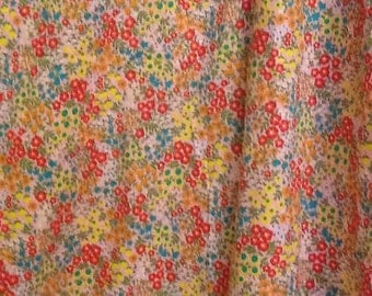 Vintage Pink floral Fabric Material Flowers Cotton Quilting Calico