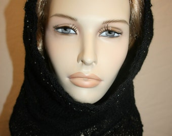 Hand knitted black lacy cowl or headscarf with matching beads