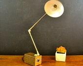 Mid Century Tensor Articulating Lamp, Brown Wood Grain and Gold Desk Lamp, Rumford