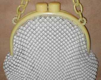 Vintage Whiting and Davis White Alumesh Purse with Bakelite Handle