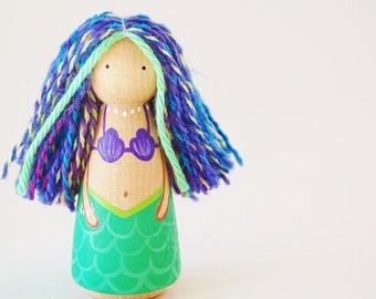 Large Mermaid Doll - Wooden Peg Doll - Summer Fun - Zooble