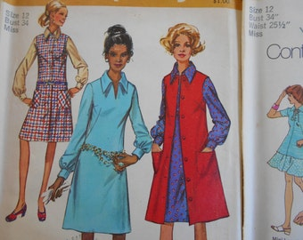 Simplicity 7267, 9028, 9889 Sewing Pattern Bundle Size 12 Dresses with under bust darts