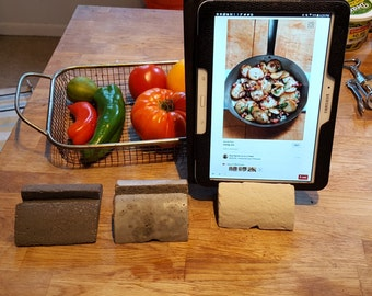 Kitchen stand for  ipad/phone/e-device and charging station, sturdy concrete and colors