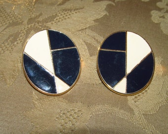 Mondrian Inspired Dark Blue & Ivory Oval Gold-tone Metal Enameled Shield-style Post Earrings
