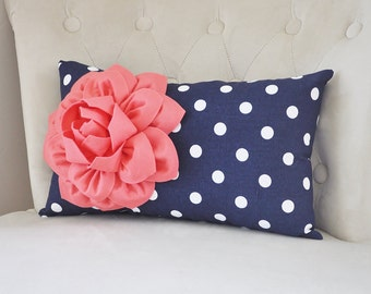 Coral  Pillow Case, Nautical Home Decor, Beach Decor, Nursery Art, Flower Pillow Cover, Decorative Pillow Case, Nautical Color Decor