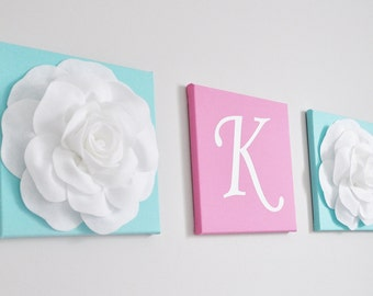 Personalized Nursery Wall Decor, Bright Aqua and Bright Pink White Nursery Letters, Wall Hanging Set, Nursery Decor, Custom Initial Decor