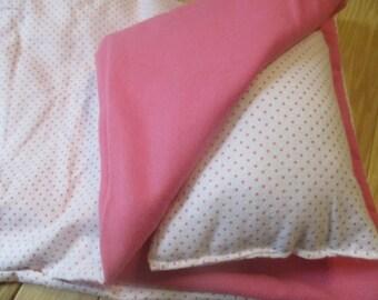 American Girl Doll Sleeping Bag, pink polka dot doll bedding for 18 inch doll