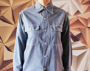 Vintage hand embroidered chambray shirt 60's 70's Big Mac Penn Prest unisex S small