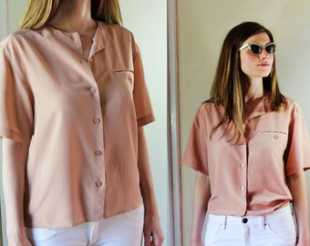 Vintage blush pink boxy minimalist blouse 90's M Medium