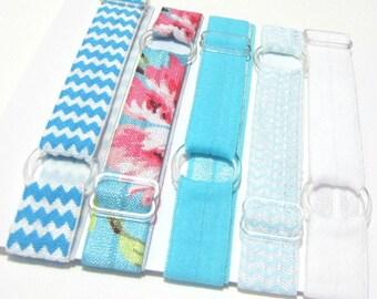 Set of 5 - Aqua Blue Adjustable Elastic Headband Hair Band Girl Baby Woman Headband Sport Headband