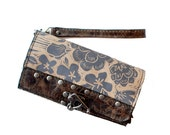 "Leather Clutch  Wristlet  Printed Wallet in Brown And Tan ""Berlin Clutch"" Ready to Ship"