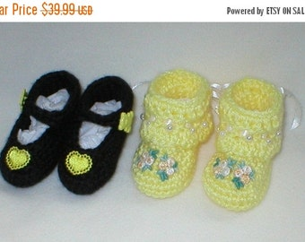 20% OFF SALE Crochet Baby 0-3 Mts. Black Yellow Satin Hearts Mary Janes White Yellow Venise Lace Tribuds Booties Gi