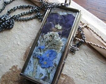 Pressed flower necklace | glass locket pendant | silver | violet