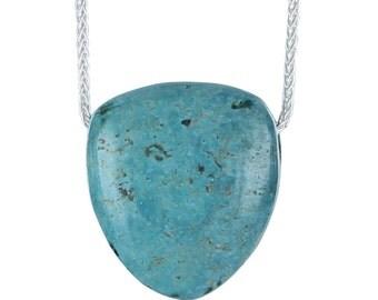 "Turquoise Shield Shaped Pendant Necklace Aqua 16"""