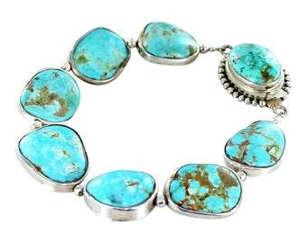 Kingman Turquoise Sterling Silver Rimmed Bracelet
