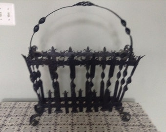 Vintage Black Wrought Iron Magazine Rack Ornate