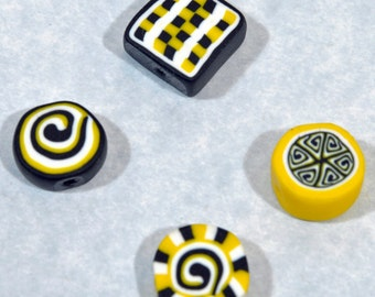 Polymer Clay Beads - Set of 4 in Black, white and yellow