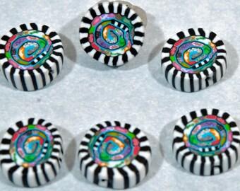Polymer Clay Beads - 6 hand-made beads