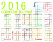 NEW!! UPDATED FOR 2016 - Calendar Journal Templates - Instant Download