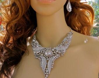 Bridal  Necklace Set,  Wedding Necklace Set, Pearl Necklace Set,  Art Deco Necklace, Pearl Bridal Necklace, Pearl Wedding Necklace