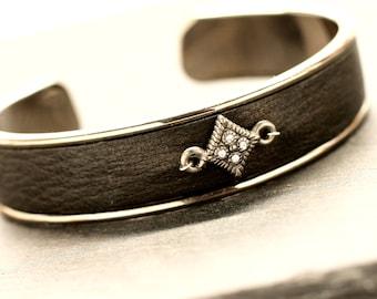 Black Cuff , Leather Bracelet , Silver Bracelet , Adjustable Bracelet ,  Rock n Roll Jewelry , Gift For Her , Cool Girl Gift ,   Amy Fine