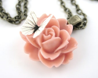 Pink Rose Necklace - Butterfly Necklace - Butterfly Pendant - Fairy Kei Necklace Pastel Goth Jewelry Coral Pink Jewelry Light Pink Necklace