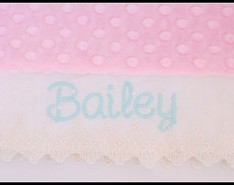 Personalized Toddler Pillow Case Blush Pink Minky with Victorian Lace Edge YOU CHOOSE cream or white edge, name in Aqua Sea Color