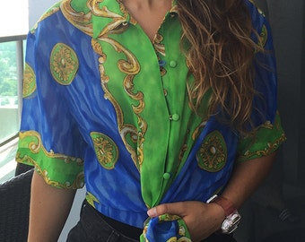 Tropical Sheer Button-Up