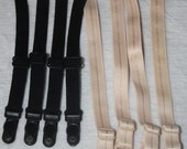 ON SALE 10% off Set of 4 (2 pair) Black or Nude off white stretch elastic detachable plastic garter grips C4