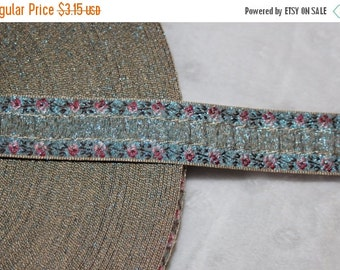 """ON SALE 10% off 2 yards Bue pink rose ombre metallic old gold woven jacquard sewing craft ribbon Trim 3/4"""" wide"""