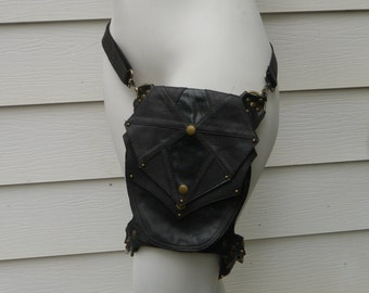 Galaxy Leg Holster Backpack DARK Brown and Antique Brass Steampunk Dieselpunk Leather Utility Belt Bag
