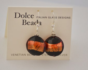 Venetian glass bead earrings by Dolce Beada ,disc earrings, gold foil earrings, Italian glass jewelry, glass earrings, colorful earrings