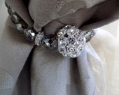 Decorative rhinestones and grey Bohemian crystals Curtain Tie Back / Curtain Holder fine beaded crystal cord