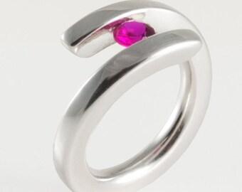 Tension Set Ruby Ring , Sterling Silver Minimalist Engagement Ring , Gemstone Stacking Ring , Handmade Engagement Ring, July Birthstone Ring