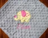 Personalized minky baby blanket- baby girl fuchsia pink yellow and grey elephant- lovey blanket